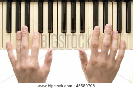 Piano Keyboard With Hand
