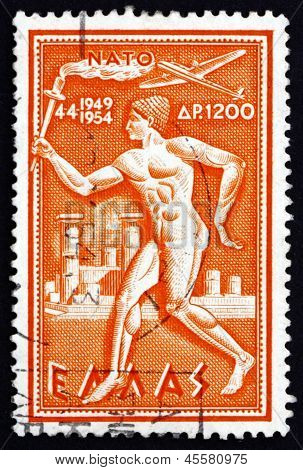 Postage Stamp Greece 1954 Torchbearer
