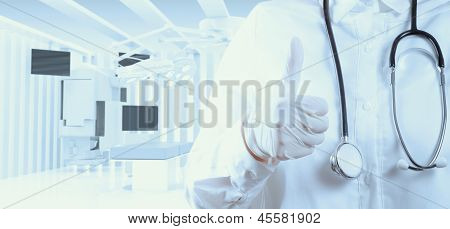 Smart Doctor With A Stethoscope In The Hands And Office Background