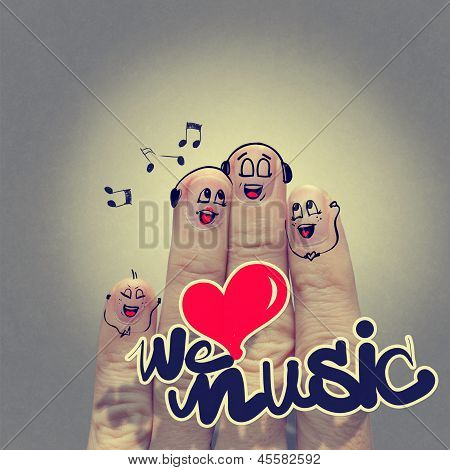 The Happy Finger Family Holding We Love Music And Singing A Song