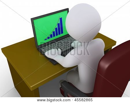 Person Analyzing Chart On A Laptop