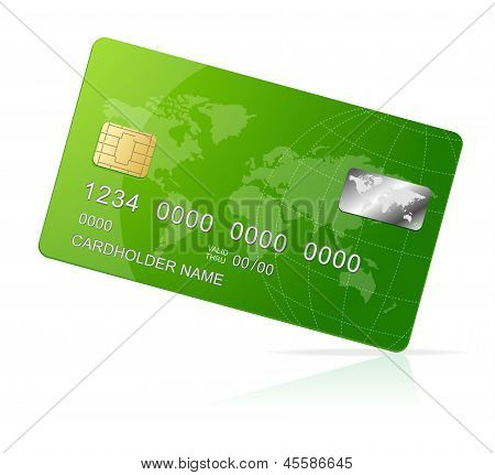 Credit Card green icon Isolated on white