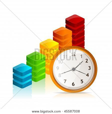 Vector Business graph and clock