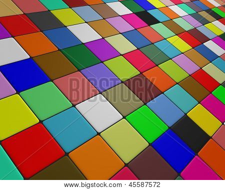 Skew multicolor floor fleeing to the horizon