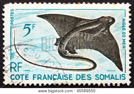 Postage Stamp Somali Coast 1927 Eagle Ray, Myliobatidae, Fish