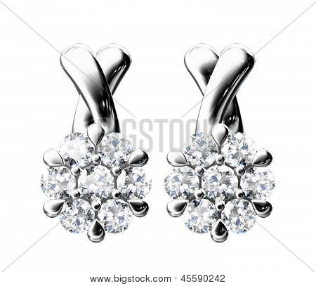 The Beauty Diamond Earrings On White Background