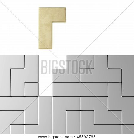 Concept of tetris game with golden shape