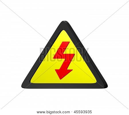 Symbol High Voltage Sign On White Background