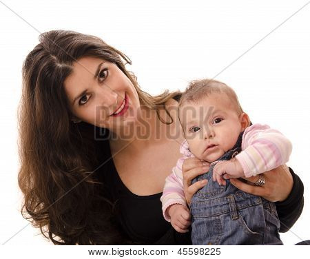 Dark Haired Mom And Little Baby