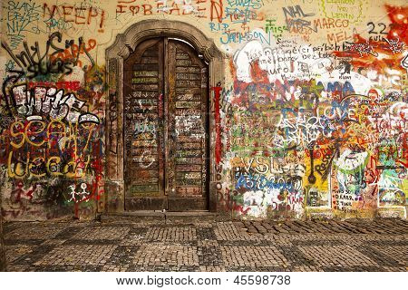 Wood Door In The Lennon Wall