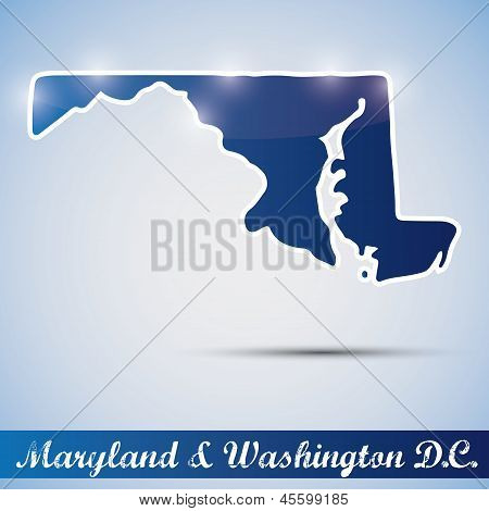 shiny icon in form of Maryland state and Washington D.C.
