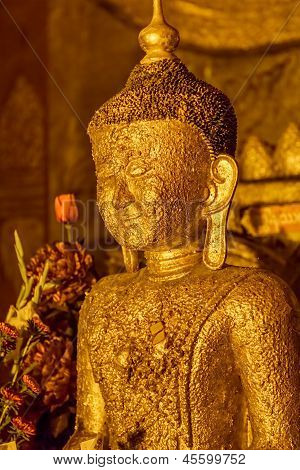 Ancient golden Buddha statue in Ananda Temple
