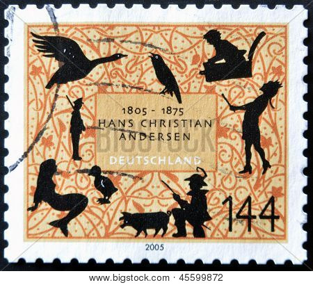 GERMANY - CIRCA 2005: A stamp printed in Germany dedicated to Hans Christian Andersen circa 2005