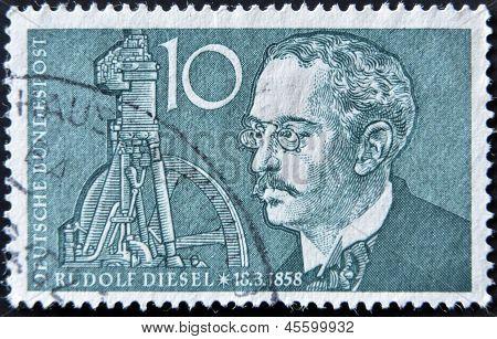 GERMANY - CIRCA 1958: A stamp printed in Germany shows Rudolf Diesel circa 1958