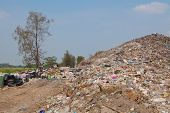 image of landfills  - Garbage at a rubbish dump in a landfill site pollution Global warming - JPG