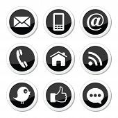 Contact, web, blog and media round icons - twitter, facebook, rss