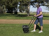 image of spreader  - woman fertilizing her lawn with a spreader - JPG