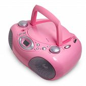 pic of dick  - pink mp3 stereo cd radio cassette recorder isolated on a white background - JPG