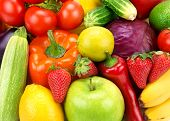 stock photo of food truck  - bright background of different fruits and vegetables - JPG