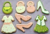 picture of shortbread  - Shortbread biscuits cutout and decorated as fashion items - JPG