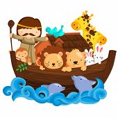 stock photo of noah  - noah and many many animals in the boat - JPG