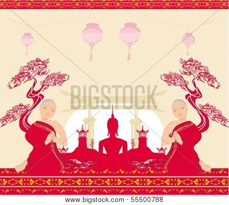 Silhouette Of A Buddha,asian Landscape And Praying Monks