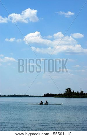 Rowing on a Palic`s lake