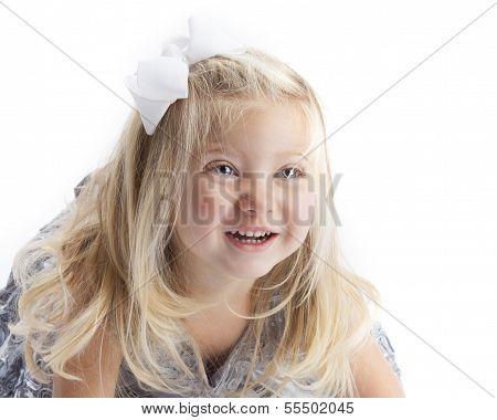 Happy Blond Girl White Background