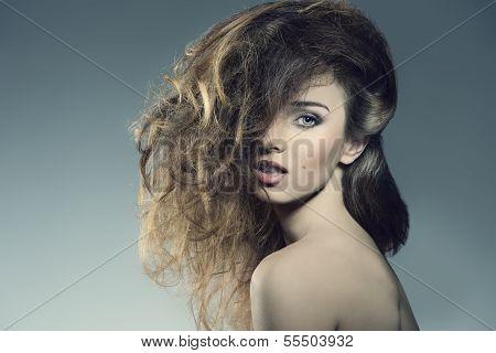 Woman With Bushy  Hair
