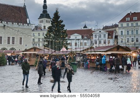 Tallinn, Estonia -- December 01: People Enjoy Christmas Market In Tallinn On December 01, 2013 In Ta