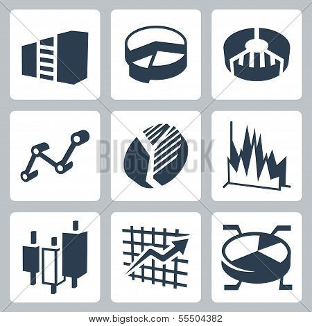 Vector Isolated Graphs And Charts Icons Set