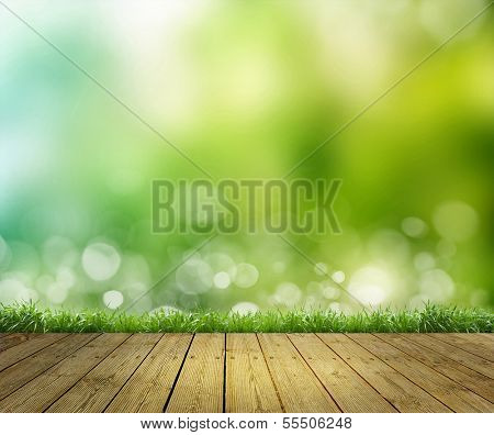 sky as background and a wooden floor