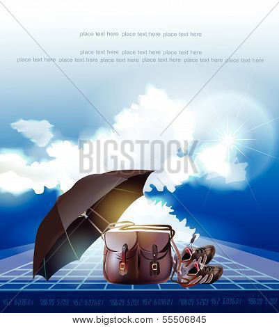 Background with travel bag, sky, clouds and space for text