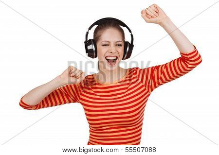 Jirl In A Striped T-shirt And Headphones