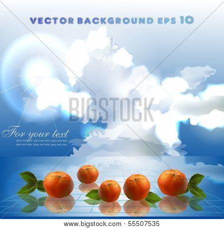 fruits and water background