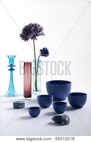 Blue bowl and vase still
