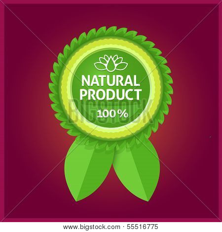 Natural product green label on violet