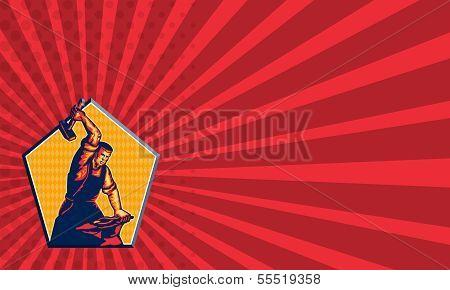 Blacksmith Worker Striking Sledgehammer Anvil Retro