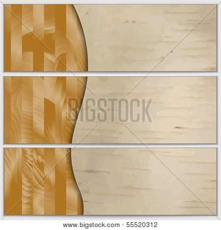 Vector wood textured banner set with curve