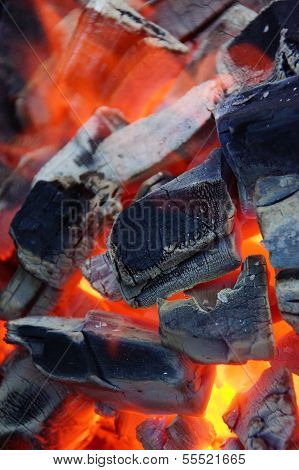 Burning bright charcoal