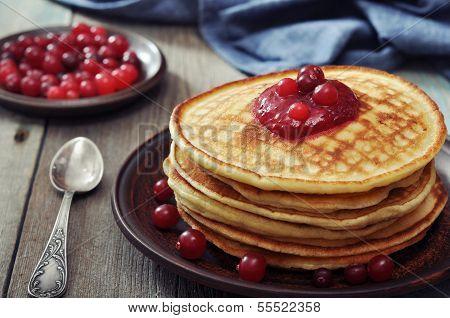 Pancakes With Cranberry Jam