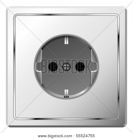 Realistic illustration of white electric wall outlet isolated on white background. For eps file look id:33879607