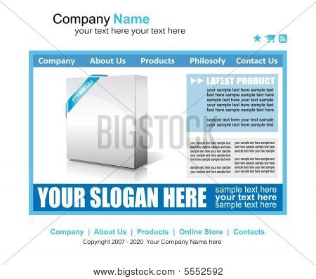Web Site Elegant Template with high contrast colors