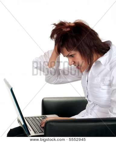 Frustrated Girl With Computer Problem