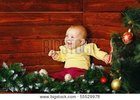 Little Girl And Christmas