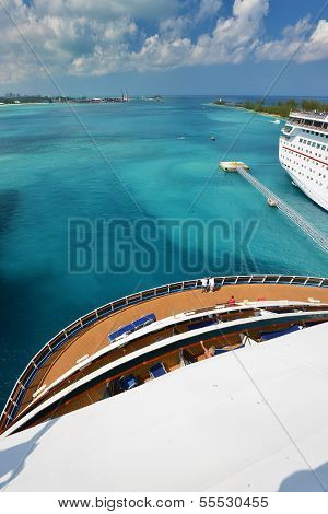 View From Stern Of Big Cruise Ship