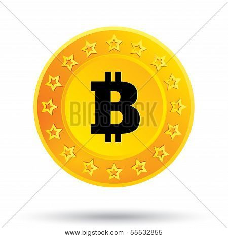 Bitcoin icon. Cryptography currency. P2P.