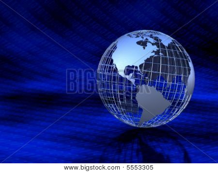 Metal Globe In Binary Numbers Background