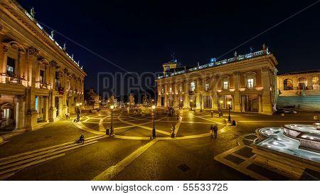 Panorama Of Piazza Del Campidoglio On Capitoline Hill With Palazzo Senatorio And Equestrian Statue O