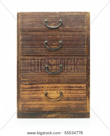 Antique asian drawer chest, made from empress wood (also known as Paulownia tomentosa, Princess Tree or Foxglove Tree). front view. Isolated on white.